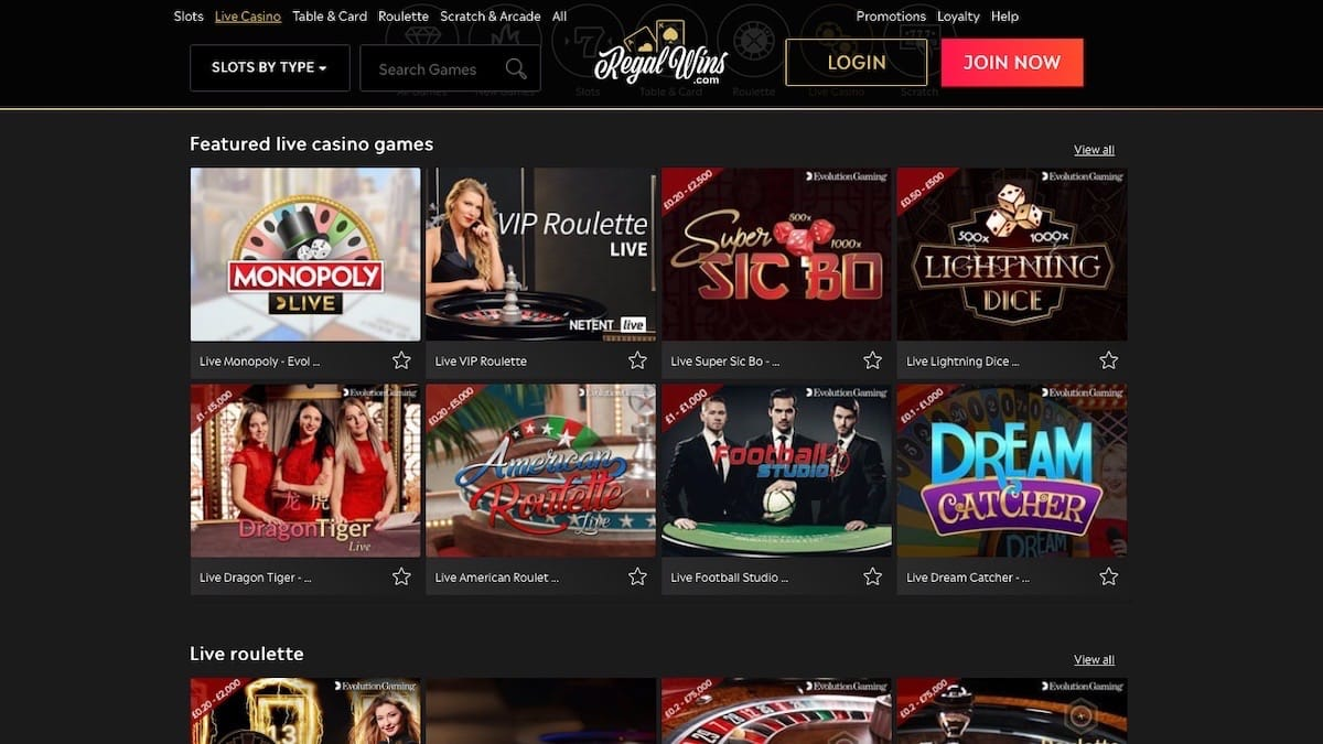 Regal Wins Live Casino Games